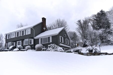 Traditional American colonial style house in winter Stock Photo - 3264271