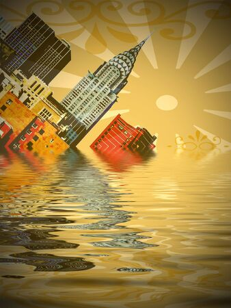 Illustration of New York sinking into water
