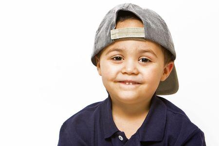 Young latino boy wearing baseball cap Stock Photo - 3399952