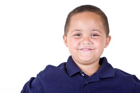 Happy mixed race boy looking forward on white background Stock Photo - 3421738