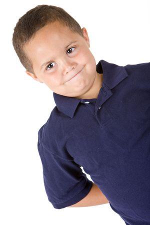 Pensive mixed race boy on white background Stock Photo - 3421778
