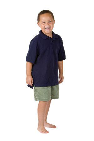 Happy mixed race boy on white background Stock Photo - 3421641