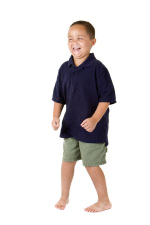 Happy mixed race boy playing on white background Stock Photo - 3421642