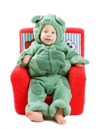 Young baby boy dressed in halloween party costume isolated on white background photo