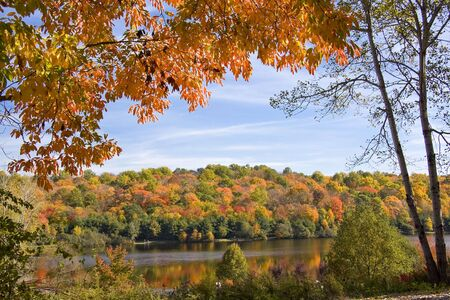 Scenic scene with autumn trees set against a wooded lake Stock Photo - 3732951