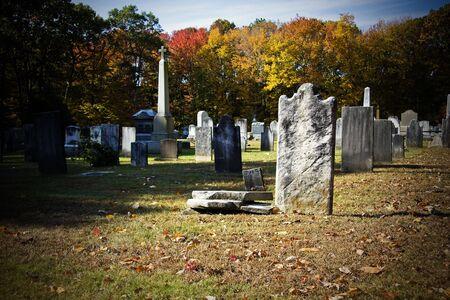 churchyard: Old creepy churchyard during autumn seasonin high contrast color