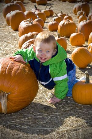 large pumpkin: Happy boy with a large pumpkin at a pumpkin patch