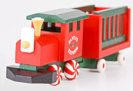 Santas express toy train with peppermint candy wheels photo