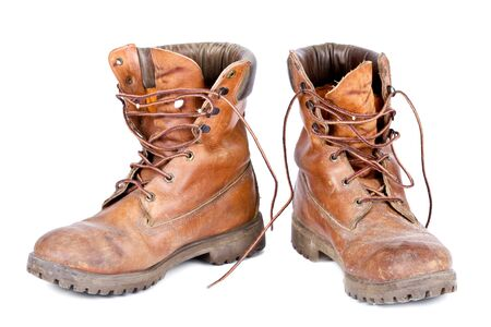 Old worn pair of leather walking boots Stock Photo - 4479927