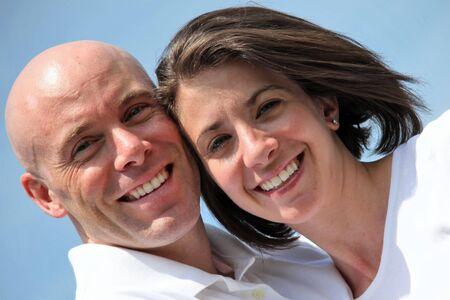 Happy good looking couple outdoor portrait Stock Photo