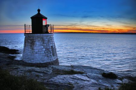 Castle Hill Lighthouse in Newport Rhode Island Stock Photo