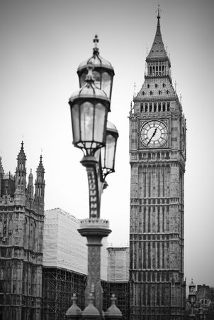 westminster bridge: Big Ben clock and Houses of Parliament in London England Stock Photo