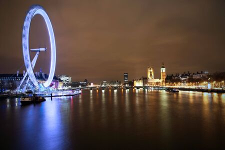 nightime: LONDON - JANUARY 23: Millennium Wheel and Thames River on January 23, 2009 in London. It was voted top tourist hot spot in the UK by Best of Britain & Ireland 2009.