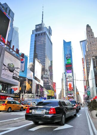 NEW YORK - DECEMBER 29: Cars speed through Times Square landmark during run up preparations for New Years Eve event on Dec 29, 2009 in New York, NY, USA. Stock Photo - 6889319