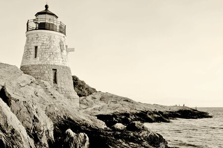 Castle Hill Lighthouse in Newport Rhode Island Stock Photo