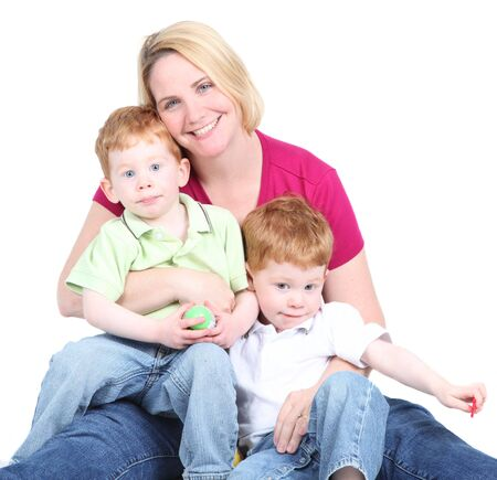 Pretty blond mother with two redhead twin boys Stock Photo - 6927002