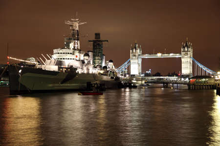 hms: River Thames Tower Bridge and HMS Belfast in London