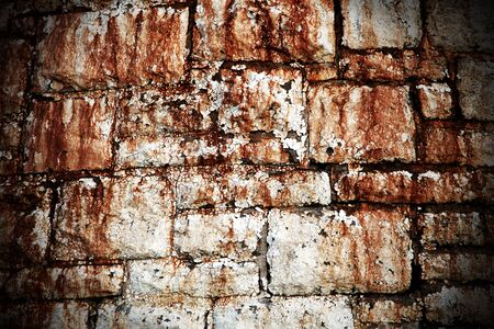 flaking: Abstract grunge brick wall background with flaking white paint