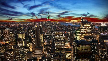 empire state building: New York City skyline at sunset