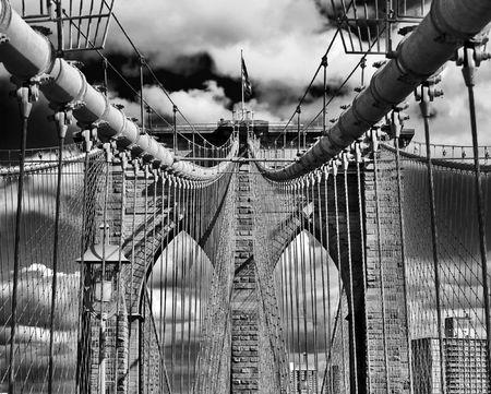 Upward image of the Brooklyn Bridge in New York
