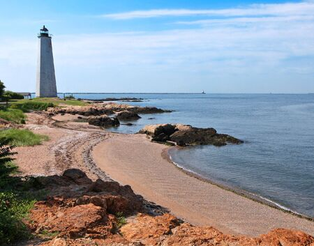 connecticut: Five Mile Lighthouse in New Haven on a beach Stock Photo