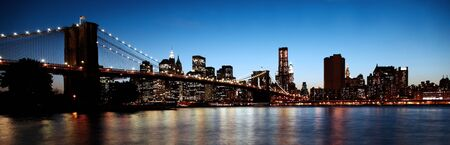 Historic Brooklyn Bridge in New York in high contrast color Stock Photo