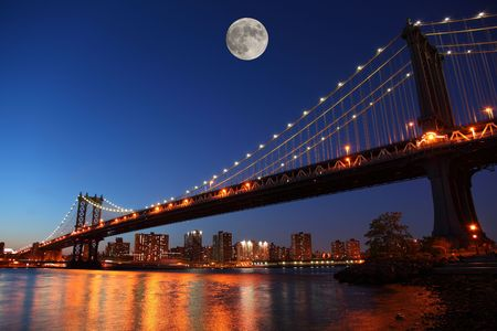 Sunset over historic manhattan Bridge in New York City photo
