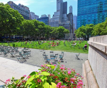 Bryant Park in manhattan New York city on a summers day Stock Photo