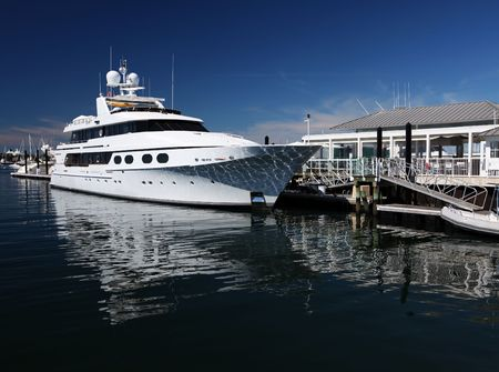 White unmarked luxurious motorboat docked in port