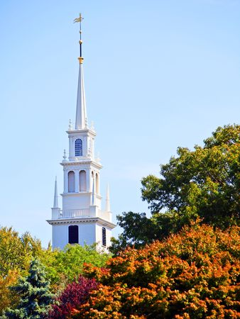 White new england style colonial church spire in fall Stock Photo - 8201516
