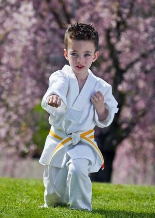 Young boy practicing martial arts outside in spring Archivio Fotografico
