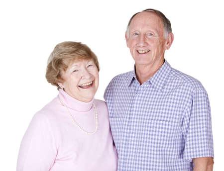 Happy senior couple portrait isolated on white photo
