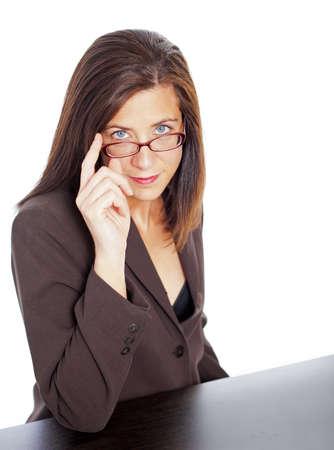 sexy secretary: Empresaria Morena atractiva aislada sobre fondo blanco Foto de archivo