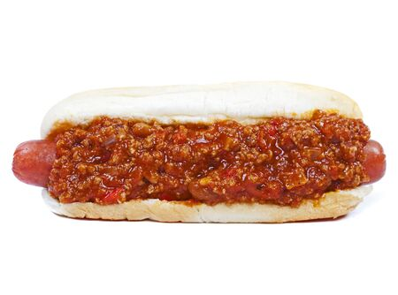 Chili hot dog in a bun isolated on white