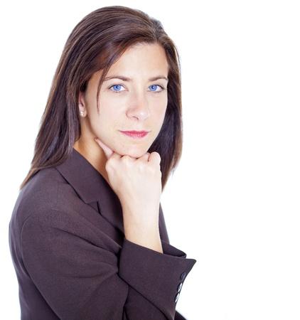 sexy teacher: Attractive businesswoman resting head on hands on white