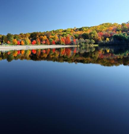 Beautiful calm lake in the fall reflecting trees Stock Photo - 10538116