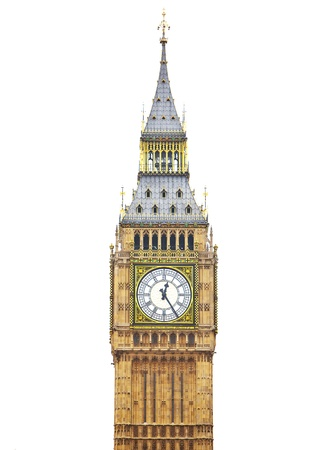 Big Ben, Houses of Parliament - isolated over white 免版税图像 - 11560534