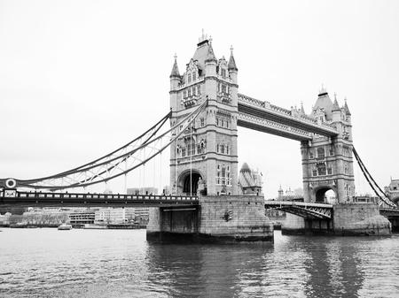 Tower Bridge at night in London, England
