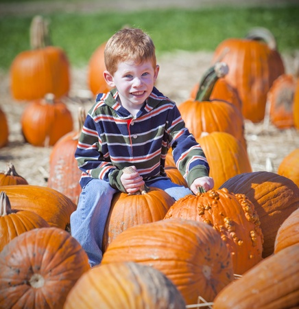 Young boy sittying on pumpkins at a pumpkin patch photo