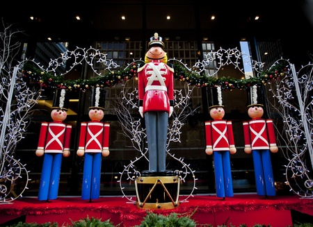 toy soldier: Life size nutcracker soldiers outside  Stock Photo