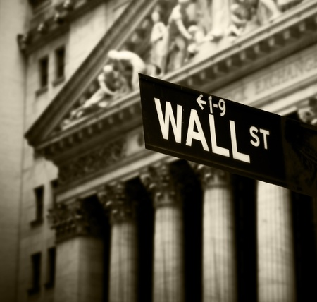stock: Wall Street sign in lower Manhattan New York Editorial