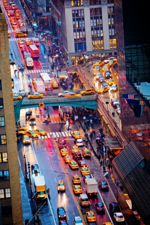 busy street: Rush hour on 42nd Street in New York City