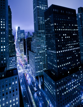 Skyscrapers along 42nd street in New York City photo