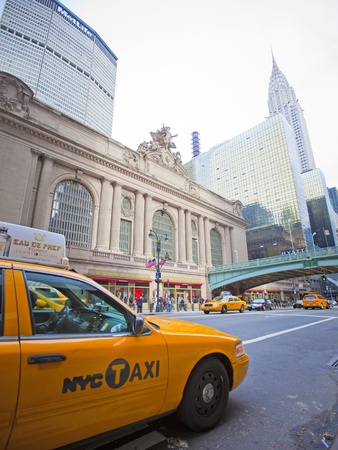 42nd: NEW YORK CITY - OCT 13: Grand Central on 42nd Street, is a famous and busy intersection for taxi cabs, tourists and commuters, October 13th, 2011 in Manhattan, New York City.