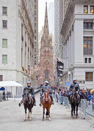 NEW YORK CITY - DEC 27: New York Police officers on horseback as part of the highly visible security on Wall Street outside the Federal Hall and Stock Exchange, December 27th, 2011 in Manhattan, New York City. Stock Photo - 12160342
