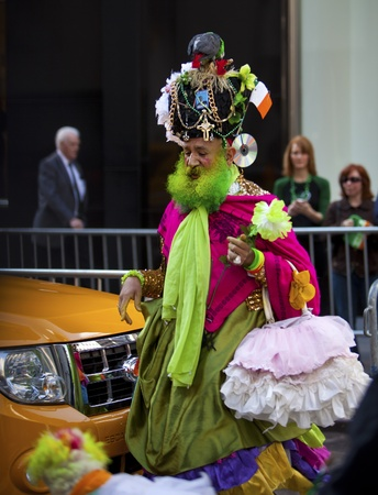 NEW YORK, NY, USA MAR 17: Colorful man in costume to celebrate the St. Patricks Day Parade on March 17, 2012 in New York City, United States.