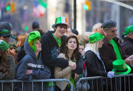 NEW YORK, NY, USA MAR 17: Crowds of people gather to celebrate at the St. Patricks Day Parade on March 17, 2012 in New York City, United States.