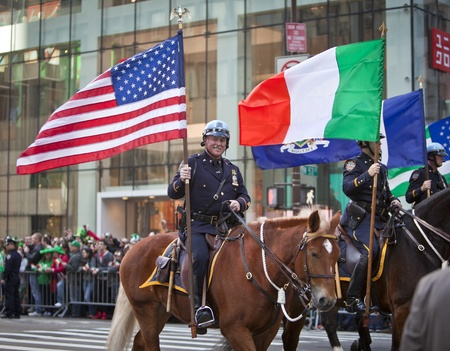 NEW YORK, NY, USA MAR 17:  Mounted NYPD policemen at the St. Patrick's Day Parade on March 17, 2012 in New York City, United States. Stock Photo - 13062636