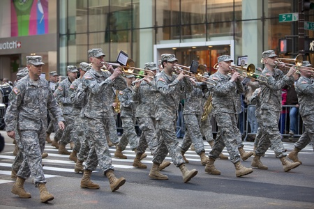 42nd: NEW YORK, NY, USA MAR 17: Marching US Army band of the 42nd Division at the St. Patricks Day Parade on March 17, 2012 in New York City, United States. Editorial