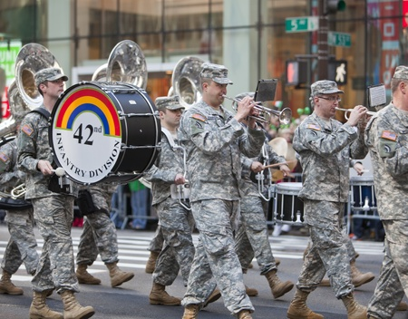 NEW YORK, NY, USA MAR 17: Marching US Army band of the 42nd Division at the St. Patrick's Day Parade on March 17, 2012 in New York City, United States. Stock Photo - 13062653